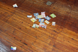 ___'Scratchcards'___, found scratchcards with silver leaf in erased areas, 2015